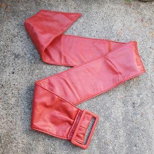 Retro Lipstick Red Faux Leather Belt